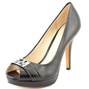 Coach Aliya Black Peep-Toe Leather Heels - 10B